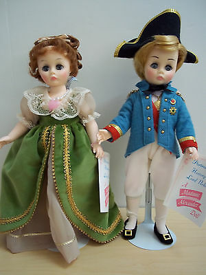 """Vintage 12"""" Lady Hamilton + Lord Nelson by Madame Alexander - #1338 and #1336"""