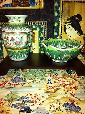 Gorgeous Matching Jar And Bowl Asian Birds And Butterfly Themed Pottery