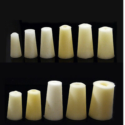 Laboratory Tapered Silicone Bung Test Tube Hollow Plug Stopper Solid Intake Hose