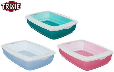 Trixie Coloured Easy Wash Plastic Cat Kitten Litter Tray Toilet With Rim 4040