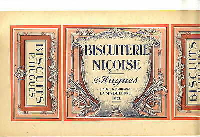 Grande Etiquette Biscuits  Biscuiterie Nicoise P Hugues La Madelaine Nice