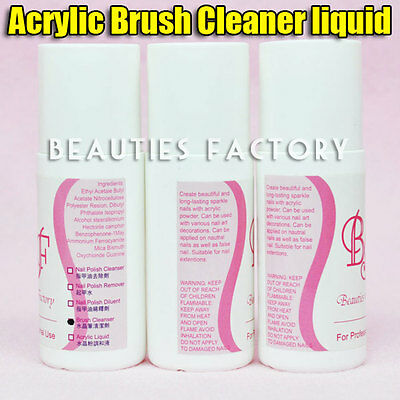 BF 3 Pieces Nail Art Acrylic Brush Cleaner Cleanser Solvent Residue Remover #30K