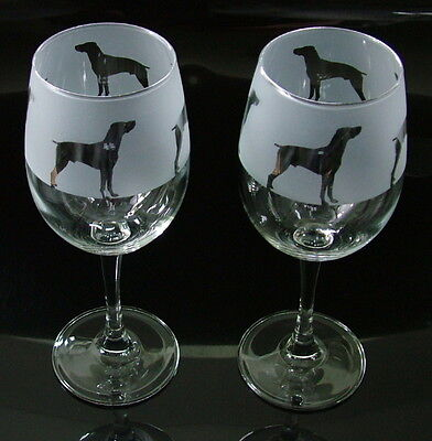 German Pointer dog Wine Glasses classic tulip shape..Boxed