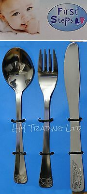 First Step 3 Pcs Kids S/Steel Cutlery Set Children Toddler Baby Spoon Fork Knife