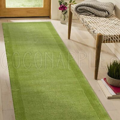 THICK HANDLOOMED NZ WOOL GREEN MODERN FLOOR RUNNER 80x300cm **FREE DELIVERY**