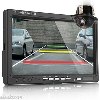 """7"""" LCD Digital Color Screen Car Monitor+2.4GHz Wireless Backup Rearview Camera"""