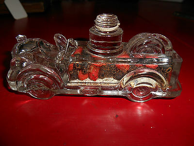 1930-1940 Glass fire truck candy container