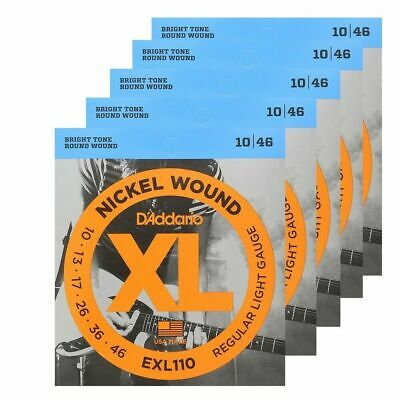 5 x D'Addario EXL110 Nickel Wound Light Electric Guitar Strings 10 - 46 XL 110