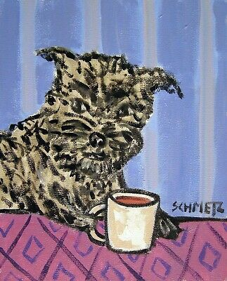 affenpinscher dog beer 11x14 signed art PRINT reproduction of painting