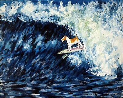 fox terrier surfing signed dog art print 8x10