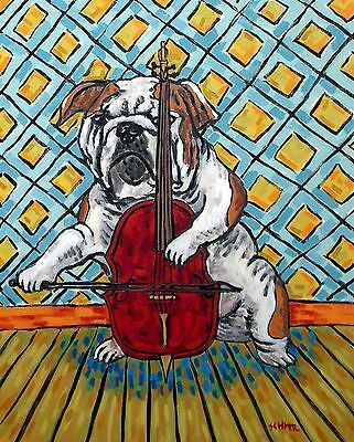 BullDog cello from PAINTING dog art reproduction pet  13x19 signed GLOSSY PRINT