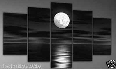 Five pieces huge canvas art oil painting night Seascape moon Wall Decor NO frame