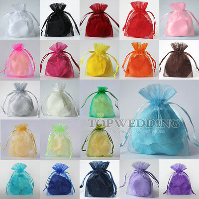 22 Colors 50/100/200 Organza Christmas Wedding Favors Jewelry Pouches Gift Bags