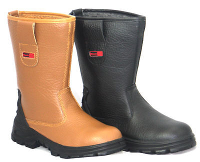 Blackrock Fur Lined Work Wear Safety Rigger Boot All Sizes - Black / Tan Boots