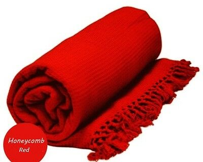 EXTRA LARGE 229cm x 254cm HONEYCOMB WAFFLE SOFA / SETTEE / BED THROW RED
