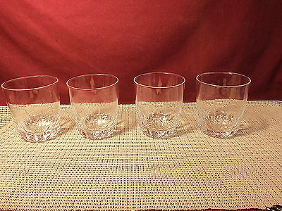 "Cristal d""Arques Crystal Diamant Pattern Set of 4 Double Old Fashioned Glasses"