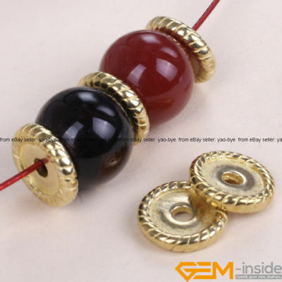 10Pcs Tibetan Silver Rondelle Spacer Beads Gold Plated DIY Craft Findings 2x14mm