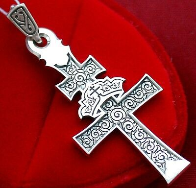 RUSSIAN GREEK ORTHODOX OLD BELIEVER CROSS,SILVER 925.RARE CRUCIFIX, DOUBLE SIDED