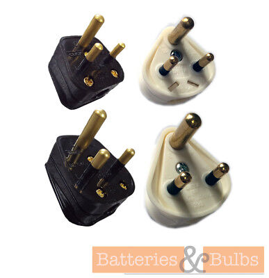 3 Pin Round Pin Plug 2A or 5A White or Black x1 Plug