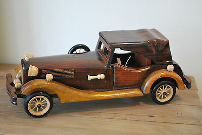 Vintage hand crafted wooden car collectible