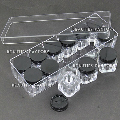 BF Empty Nail Art Deco Square Bottle Storage Display Box Case 12pcs Set #752F