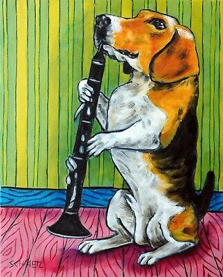 Beagle clarinet dog art 13x19 glossy print poster from painting gift modern