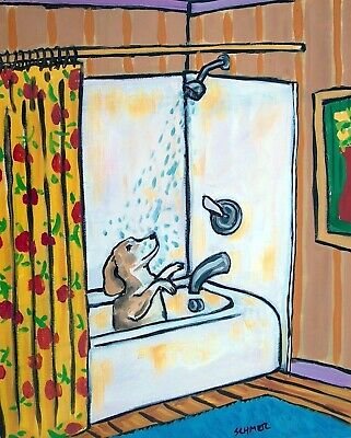 Beagle bathroom shower PRINT 13x19 glossy photo from painting modern  signed