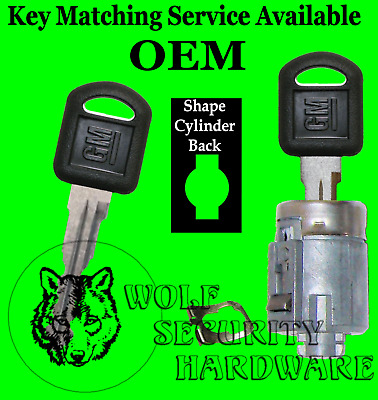 Chevy GMC OEM Single Door Lock Key Cylinder Chrome W// 2 GM Logo Keys 706591