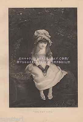 Cherry Ripe-Victorian Girl-Happy-Sweet-1884 ANTIQUE VINTAGE ART PRINT-Picture