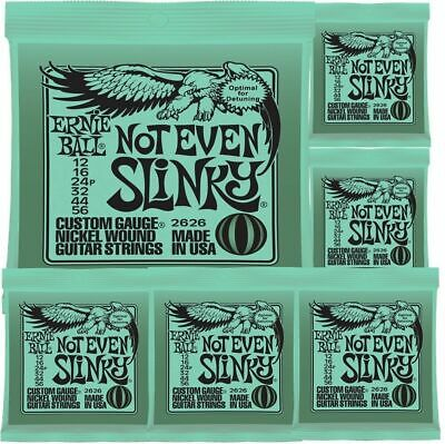 6 x Ernie Ball 2626 Not Even Slinky Drop Tuning Electric Guitar Strings 12 - 56