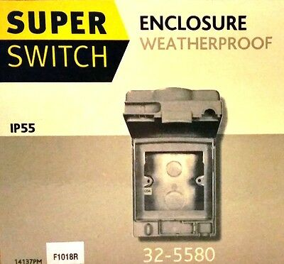 NEW Waterproof Enclosure IP55 Outdoor Garden Grid Switch Box 1 Gang Wall Socket