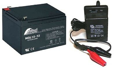 Toy Car Battery and Charger Combo 12V 12ah Battery & 12 Volt Mains Charger