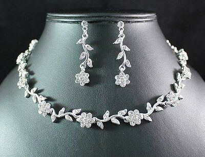 DAISIES CLEAR AUSTRIAN RHINESTONE CRYSTAL NECKLACE EARRINGS SET BRIDAL WED N1509