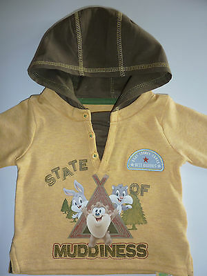 LOONEY TUNES State Of Muddiness Long Sleeved Hooded Top  NWT