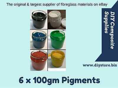 Pack of 6 - 100gm Pigment Pastes. EPOXY RESIN, POLYESTER, FLOWCOAT. FREE FREIGHT