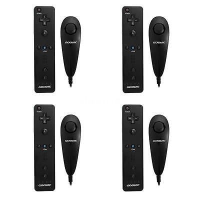 LOT 4 REMOTE AND NUNCHUCK CONTROLLER FOR NINTENDO WII + SILICONE CASE BLACK US