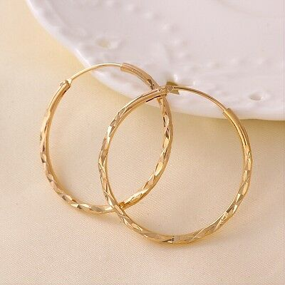 """9ct 9K Yellow """"Gold Filled"""" Stylish Large Medium Small Hoop Earrings. W=2mm Gift"""