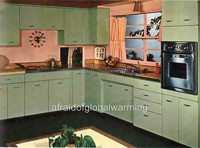 Print. 1950s - 60s. Kitchen & Decor in Green