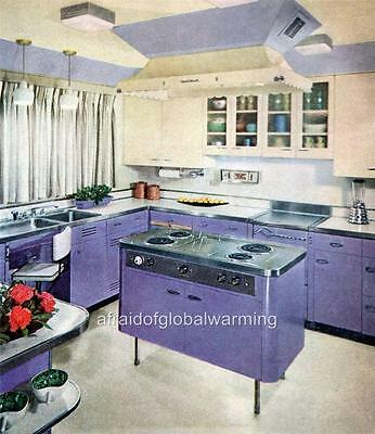 Print. 1950s - 60s. Purple Kitchen