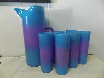 Federal Glass Purple & Turquoise Fade Tall Pitcher & Matching Coolers Set of 7