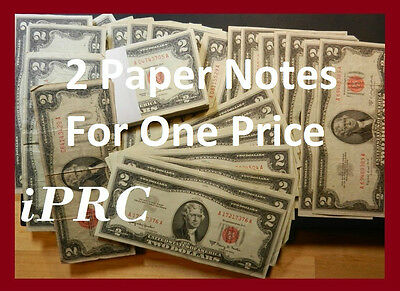 Two Dollar Note Red Seal $2 Bill + $1 Dollar Note Silver Certificate Blue Seal