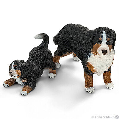 *NEW* SCHLEICH 16397 16398 Bernese Mountain Dog & Puppy Group - Set of 2 Dogs