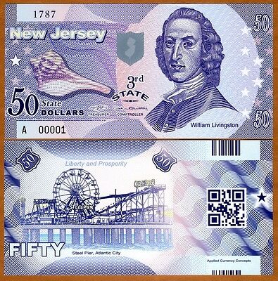 USA States, New Jersey, $50, Polymer, ND (2014), P-N/L, UNC