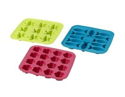 PLASTIS Ice cube tray, green/pink, turquoise by Ikea