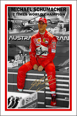 * MICHAEL SCHUMACHER * Large signed autograph poster of Formula 1 world champ!