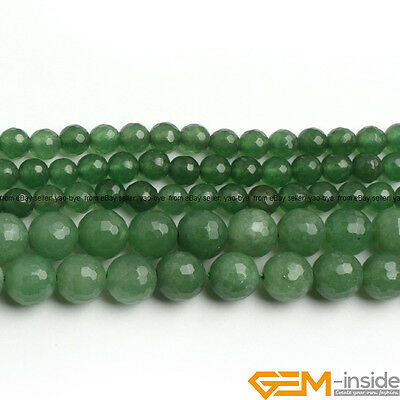 Natural Green Aventurine Jade Gemstone Faceted Round Beads For Jewelry Making YB