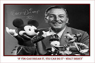 Walt Disney Large Signed Autograph Poster Photo Print, Celebrate This Icon!