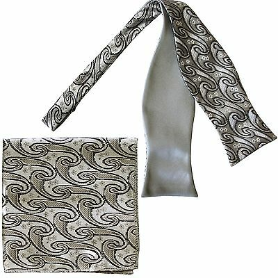 Men's Paisley Self-tied Bow tie and Pocket Square Hankie Gray / Silver White
