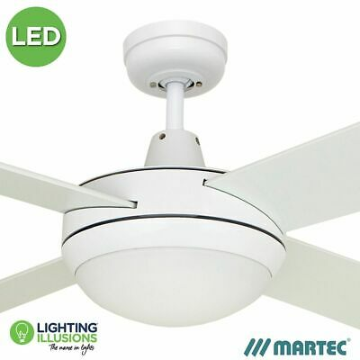 "Martec Lifestyle 52"" White Ceiling Fan + W/w 12W Dimmable R7S Inca Led Light Glo"