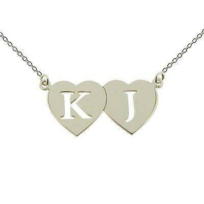 925 Sterling Silver Personalised Double Heart Any Initial Pendant Chain Necklace